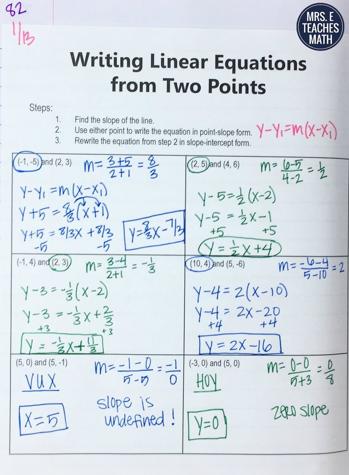 25+ Ideas For Teaching Equations Of Lines   Mrs. E Teaches Math