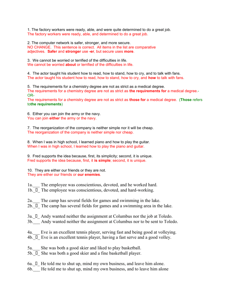 29 Parallel Structure Worksheet With Answers - Worksheet