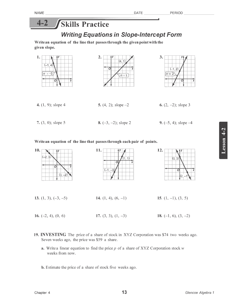 Writing Equations In Point Slope Form Worksheet Answers 4 3