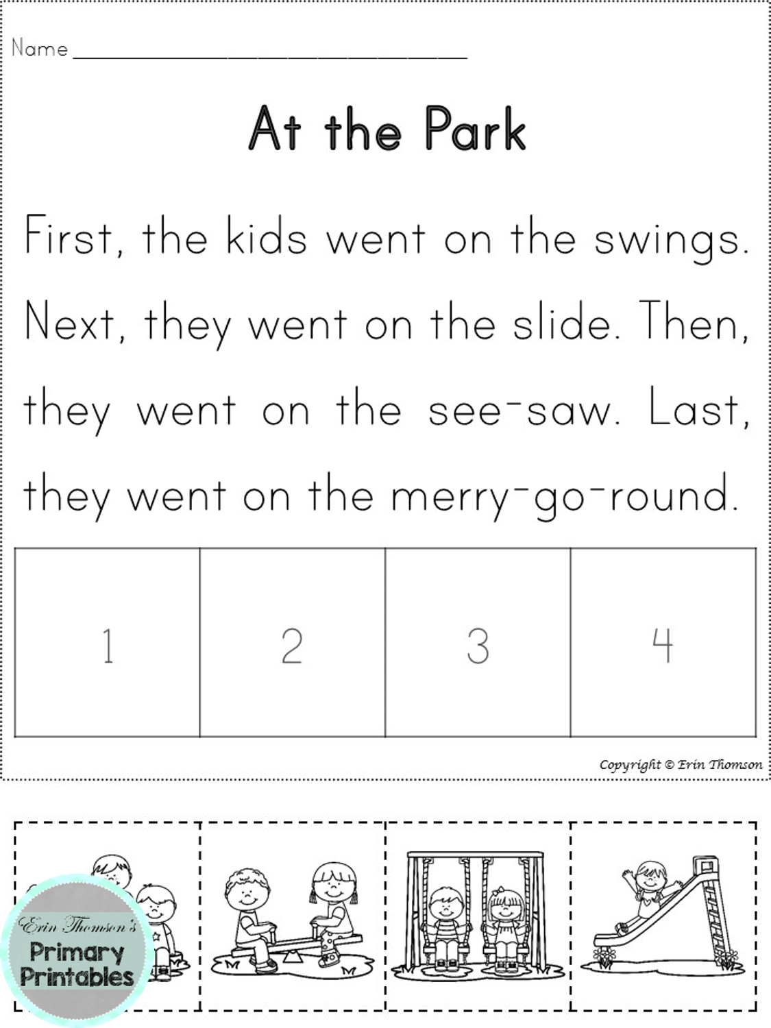 4 Part Sequencing Story ~ At The Park (First, Next, Then