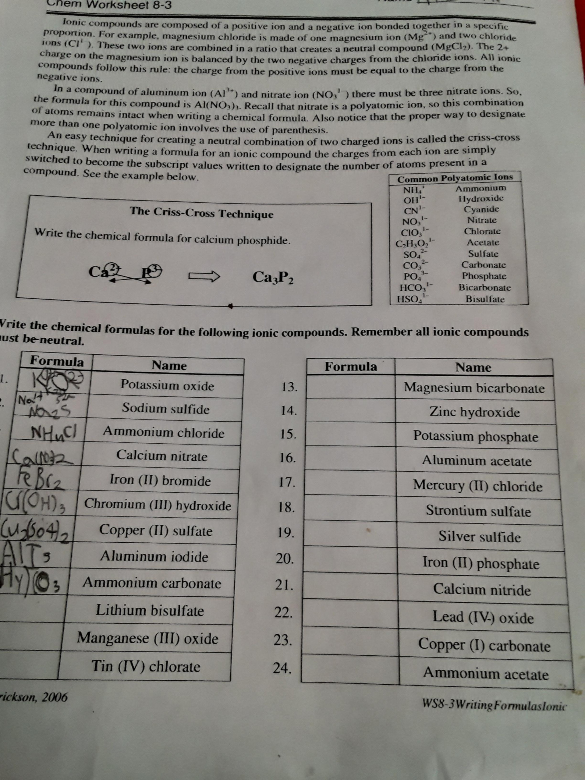 Writing Formulas For Ionic Compounds Chem Worksheet 8 3