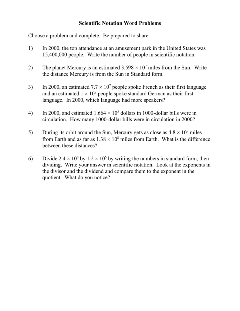 8.ee.a.3 Scientific Notation Word Problems