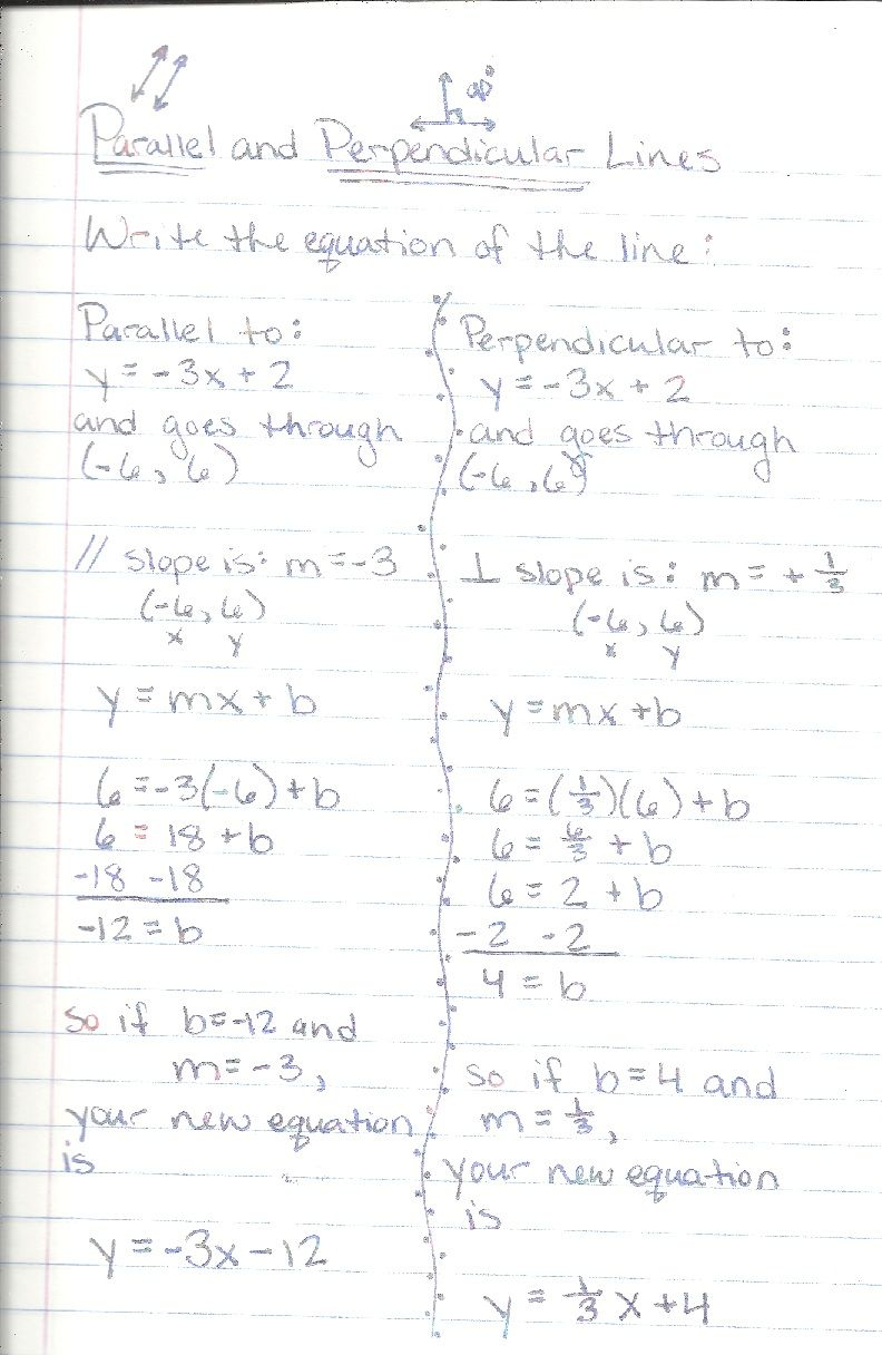 Writing Parallel And Perpendicular Equations Worksheet Answers