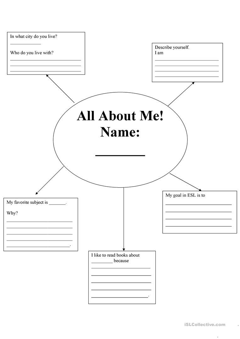 All About Me Introduction Worksheet - Free Esl Printable