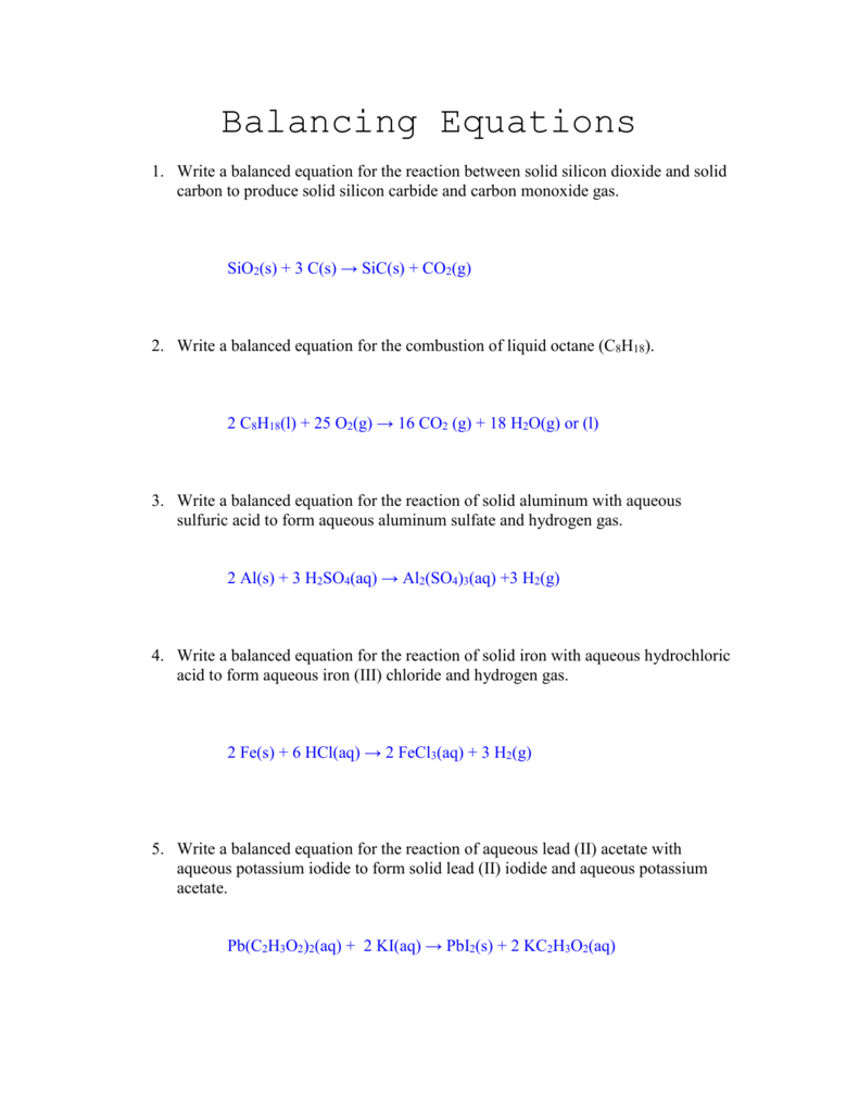 Writing And Balancing Equations Worksheet Answer Key ...