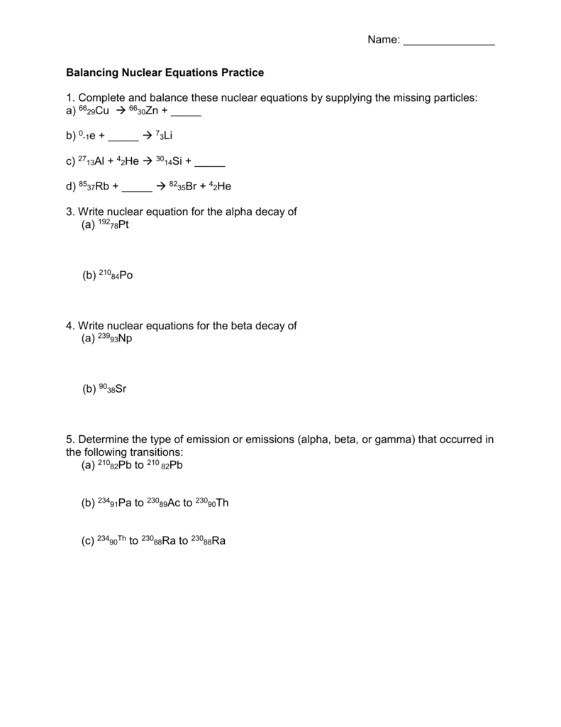 Balancing Nuclear Equations Worksheet - Promotiontablecovers
