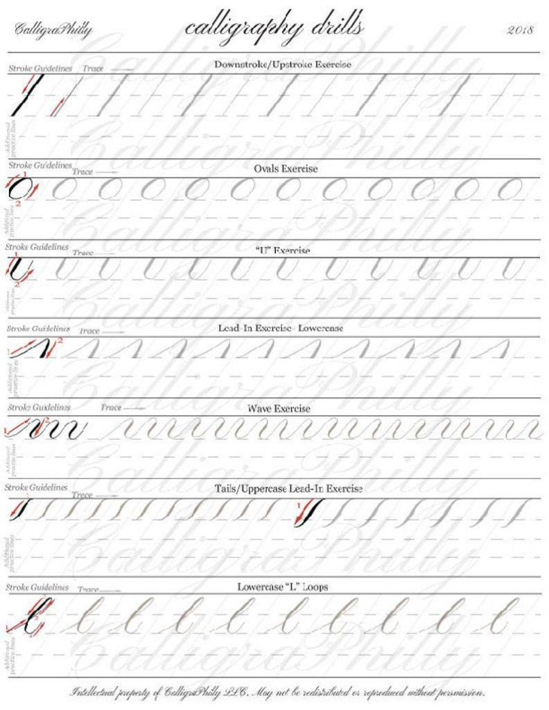 Beginner Level 1 Practice Drills For Copperplate Calligraphy