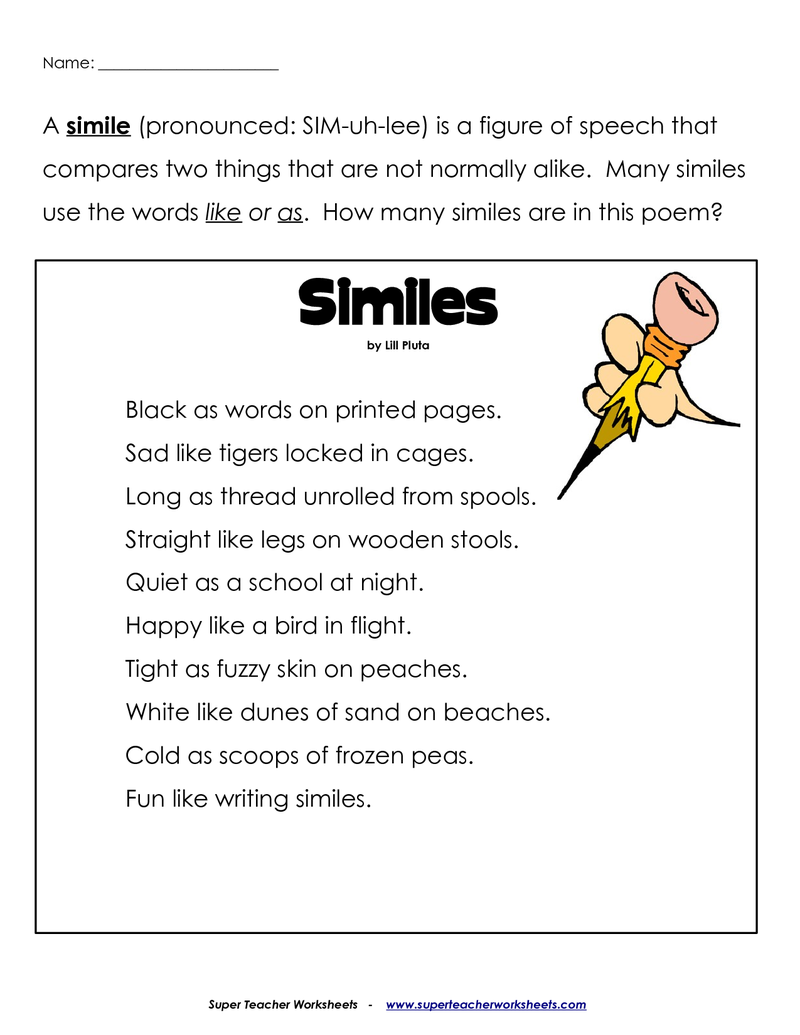 Betterlesson | Simile Poems, Similes And Metaphors, Poetry