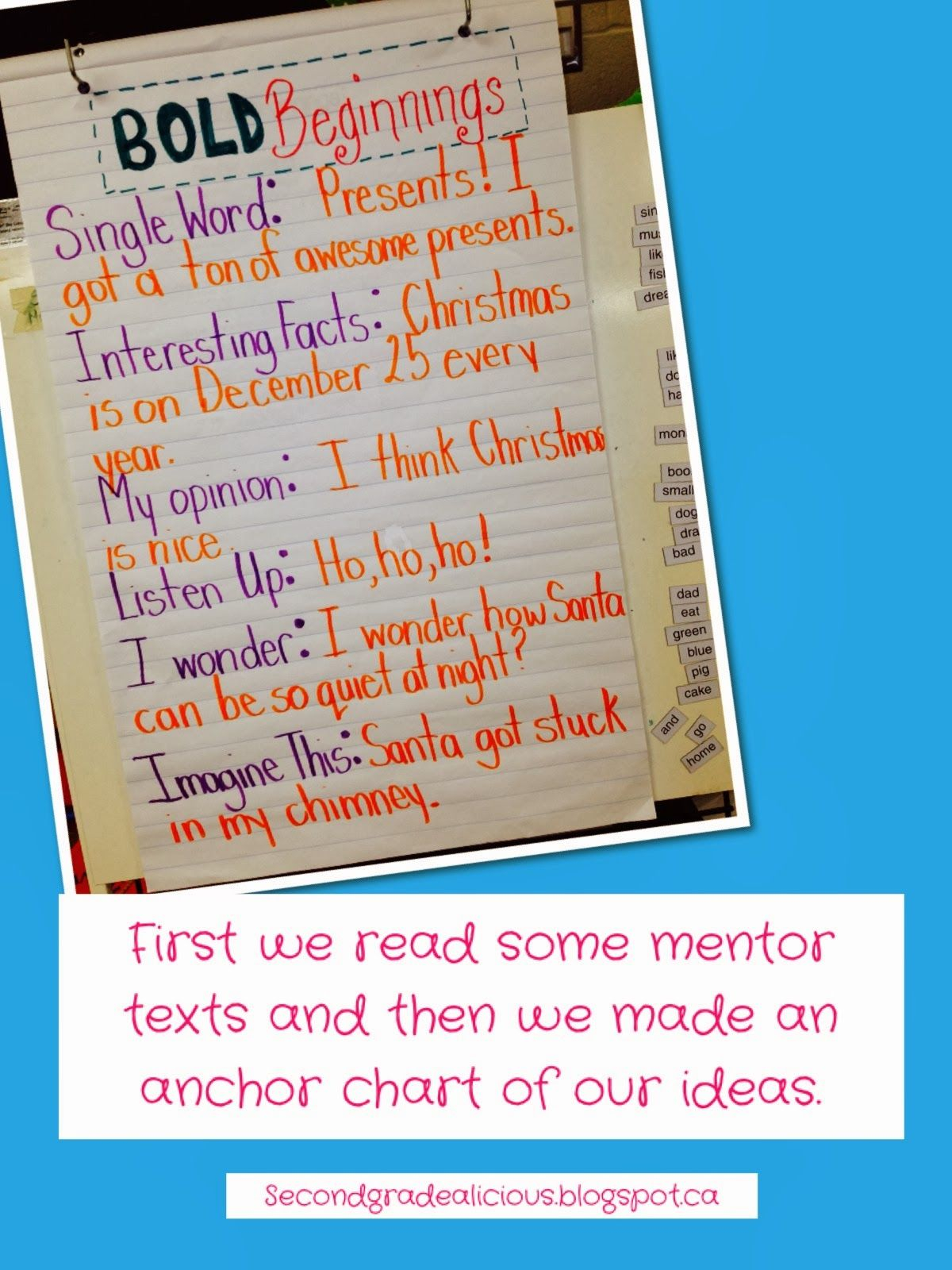 Bold Beginnings For Writing Worksheets