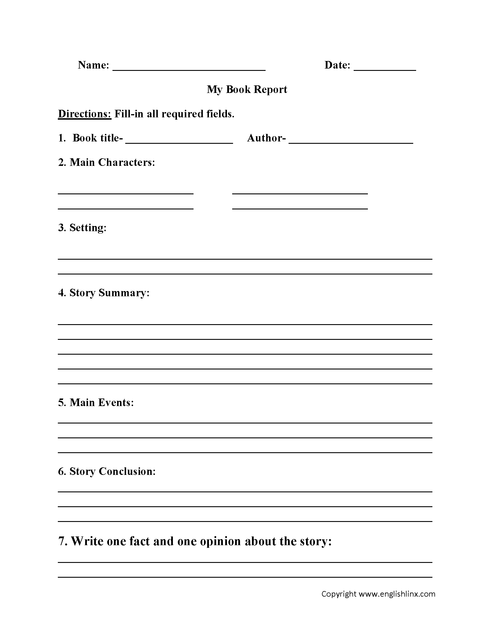 Report Writing Worksheets For Grade 6