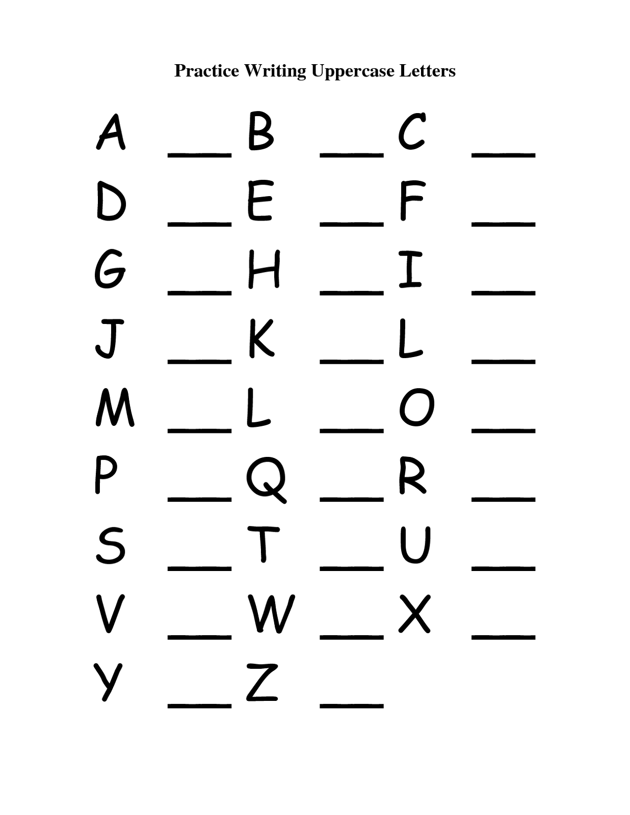 Writing Capital And Small Letters Worksheets