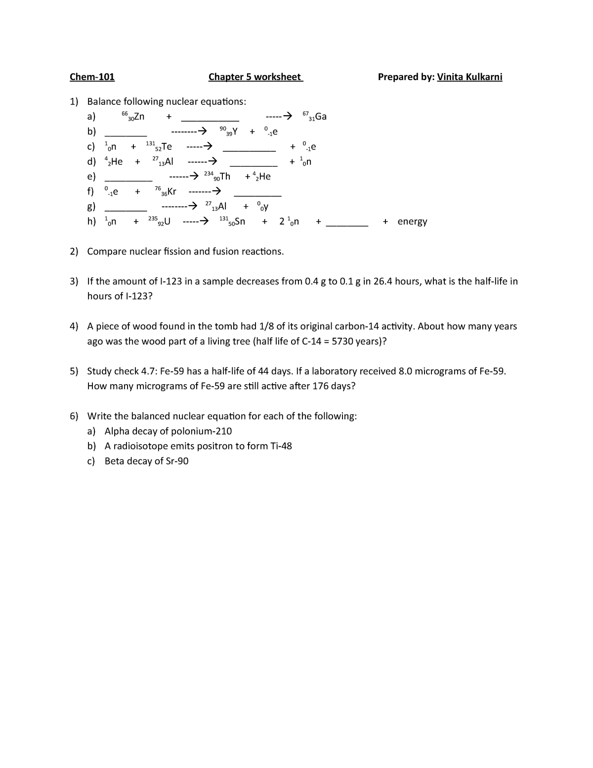 Chapter-5 Worksheet - Chem 101 Introductory Chemistry - Avc
