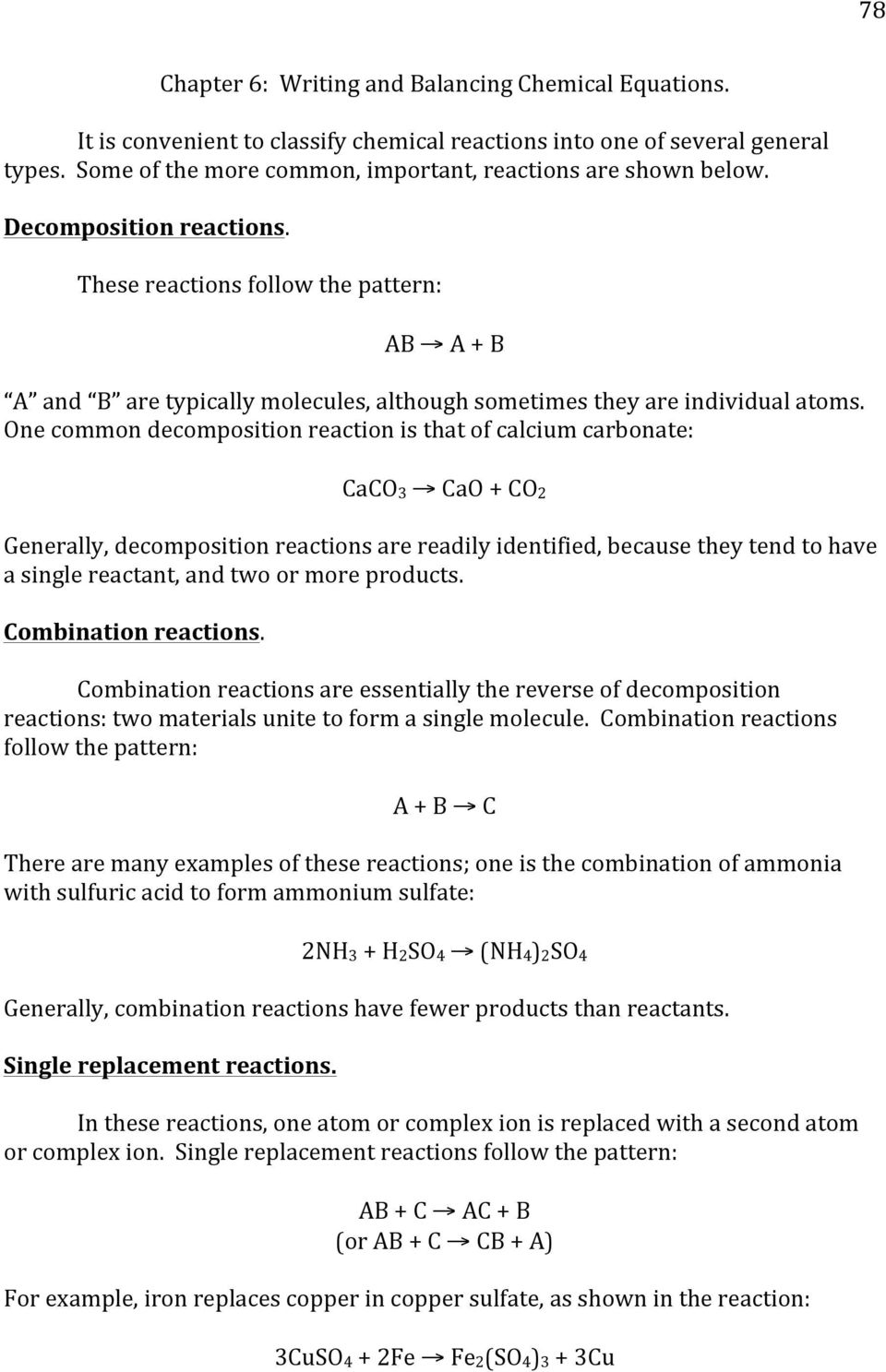 Chapter 6: Writing And Balancing Chemical Equations. Ab A +