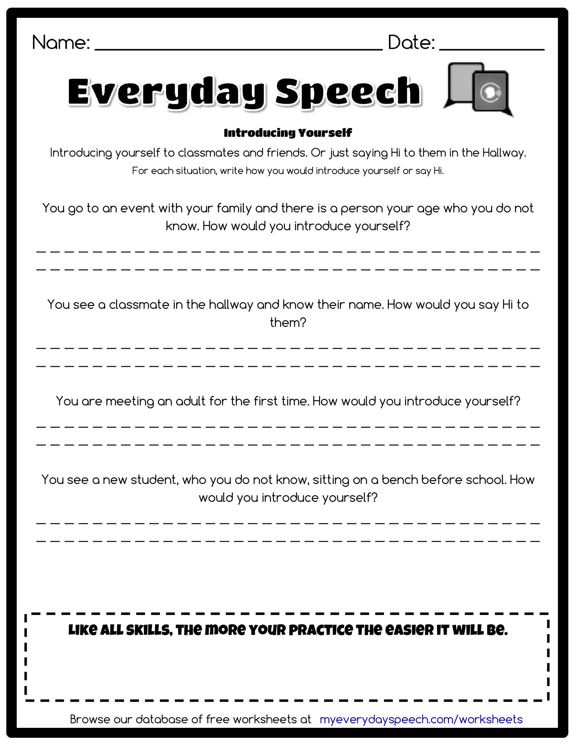 Check Out The Worksheet I Just Made Using Everyday Speech's