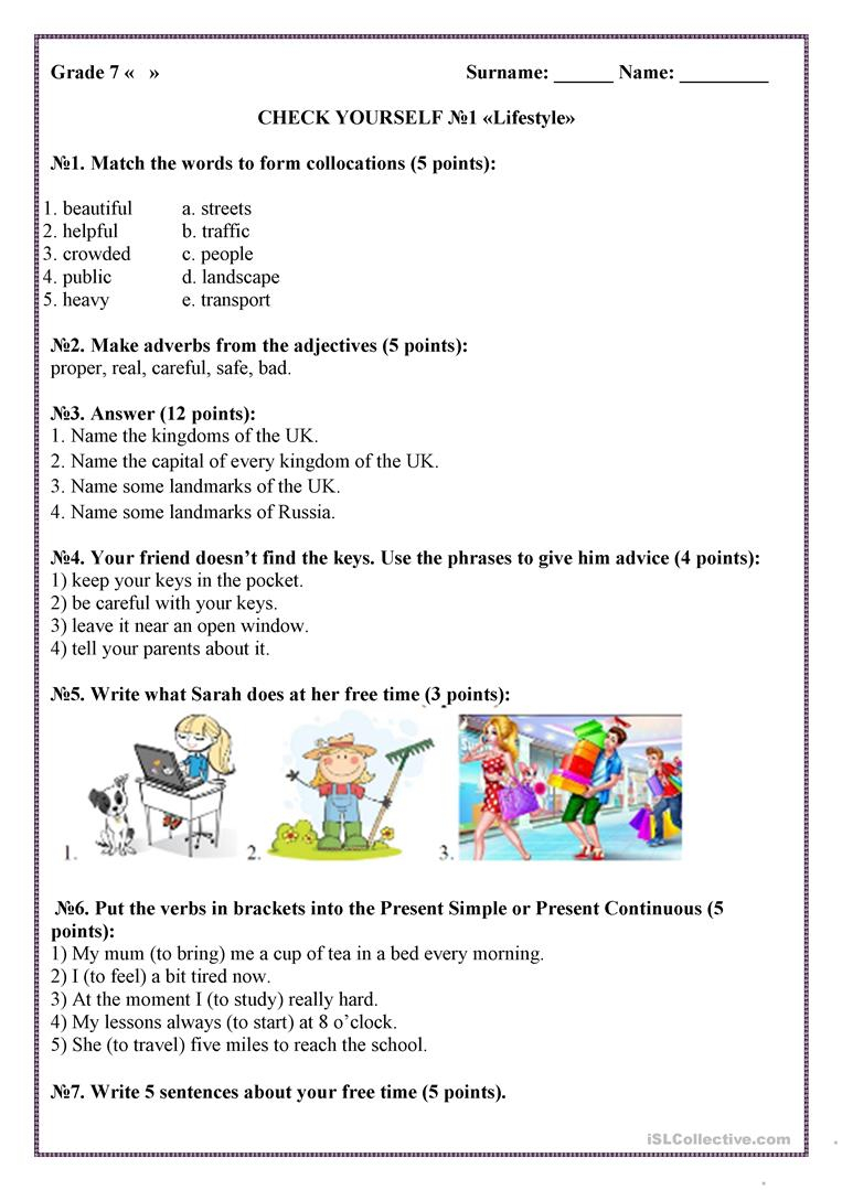Check Yourself №1 Lifestyle - English Esl Worksheets For