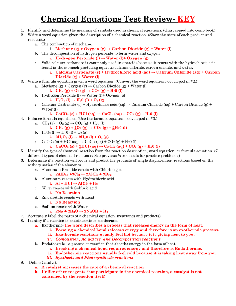 Chemical Equations Test Review- Key