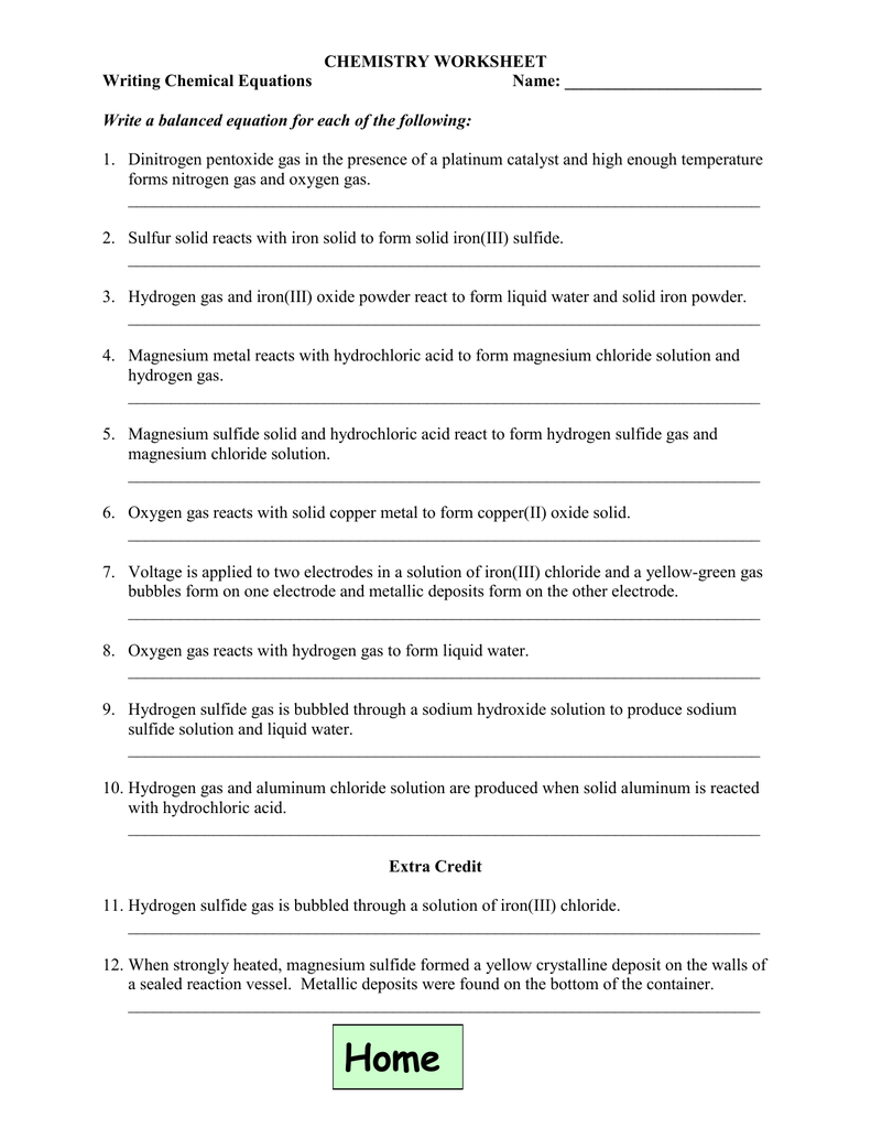 Chemistry Worksheet Writing Chemical Equations