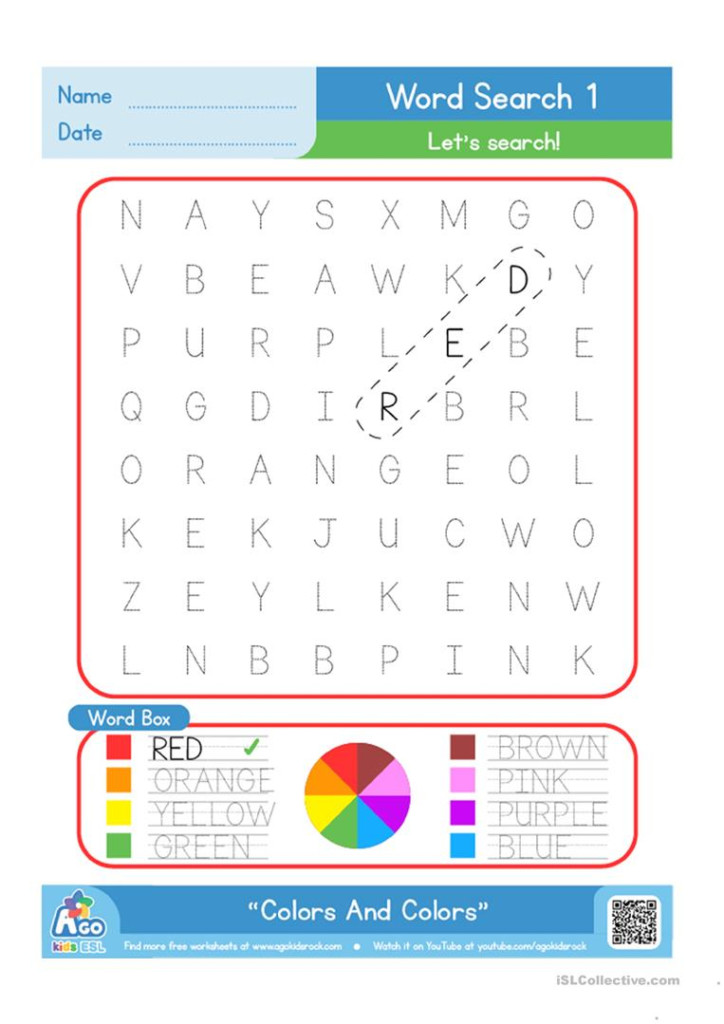Color / Colours Word Search Plus Writing Practice   English