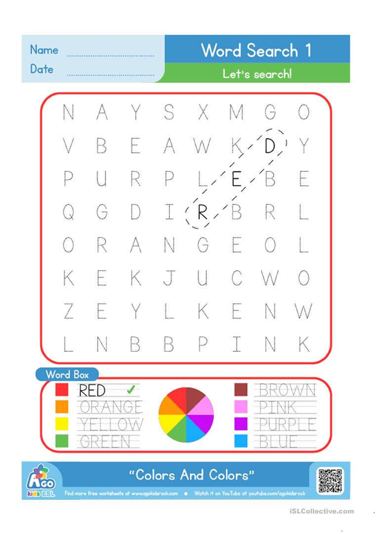 Color / Colours Word Search Plus Writing Practice - English