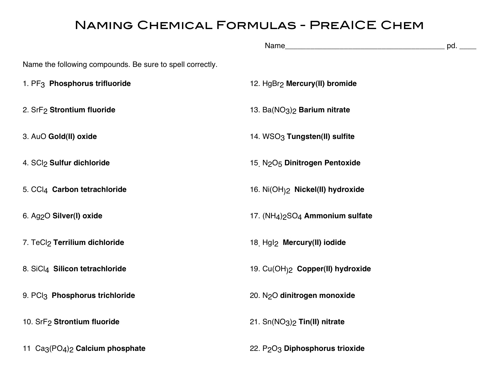 Covalent Compounds Writing Formulas And Naming Worksheet