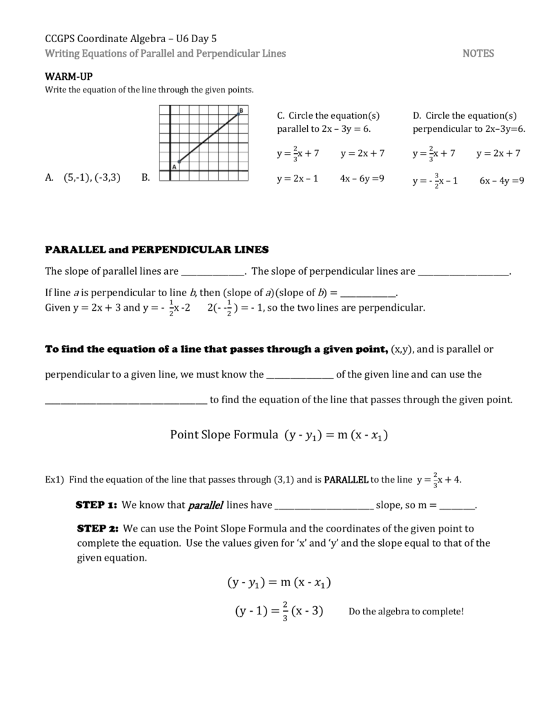 Day 5 - Writing Equations Of Parallel And Perpendicular Lines