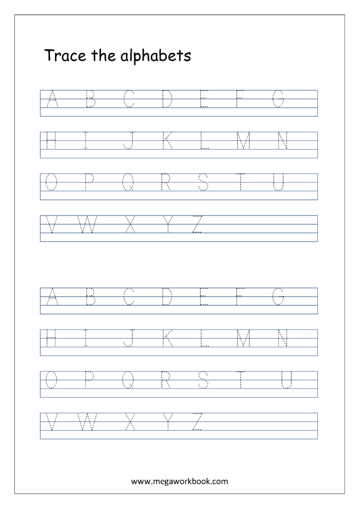 English Worksheet   Alphabet Tracing In 4 Lines   Capital