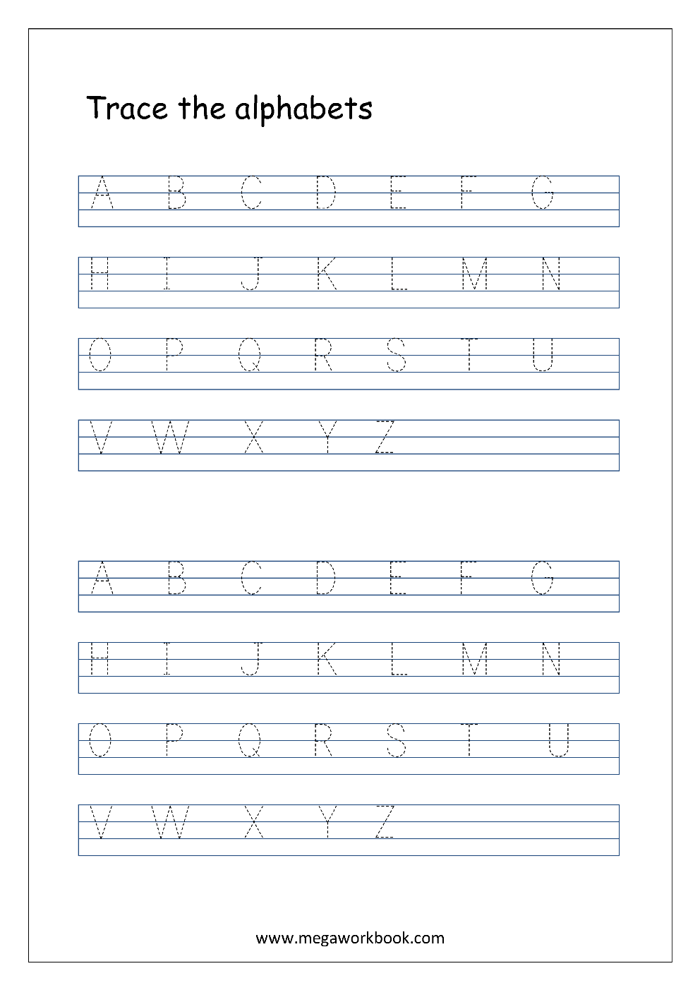 English Worksheet - Alphabet Tracing In 4 Lines - Capital