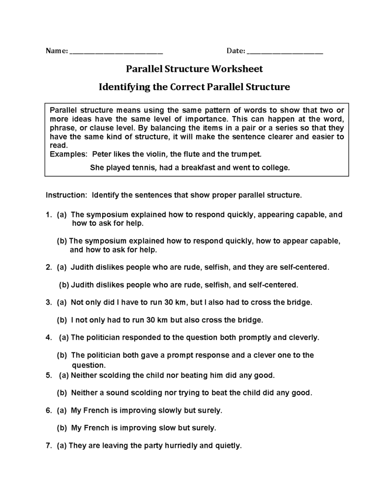 Englishlinx | Parallel Structure Worksheets