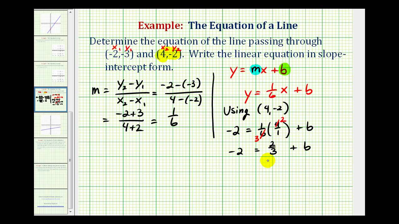 Equation Of Line (Solutions, Examples, Videos)