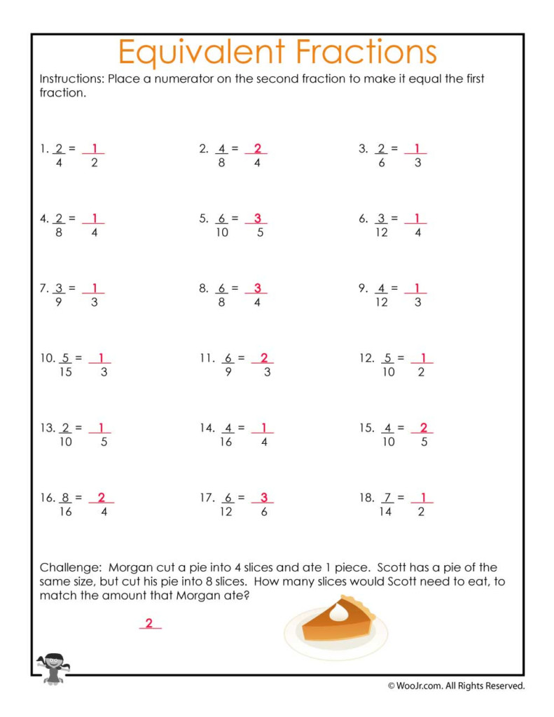 Equivalent Fractions Equations Worksheet   Answers   Woo! Jr