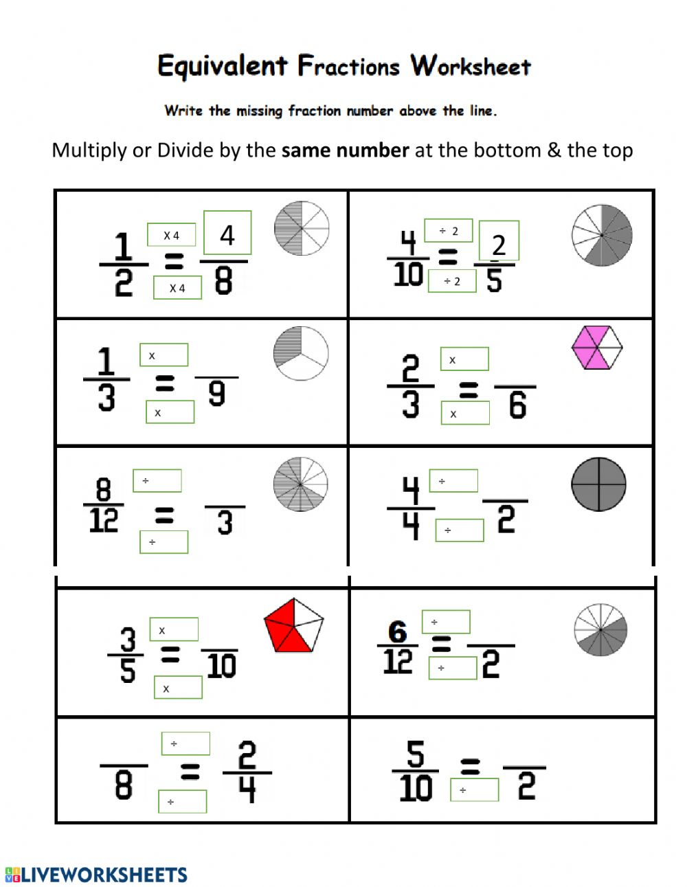 Equivalent Fractions Exercise
