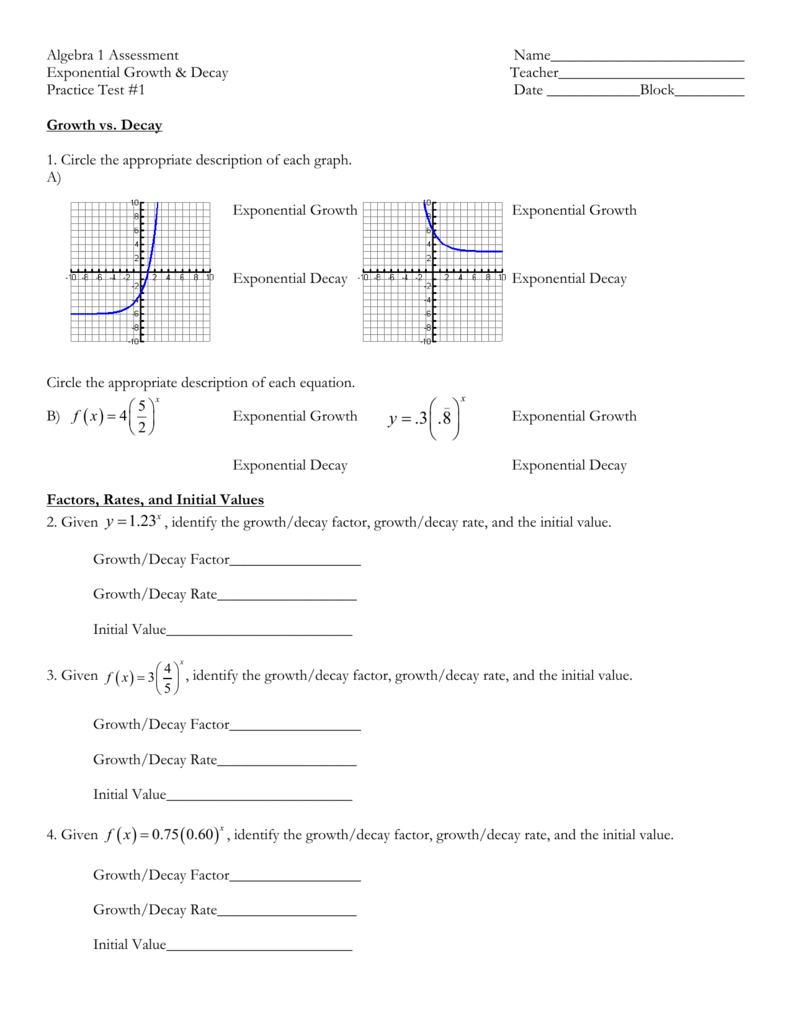 Writing Exponential Functions Worksheet