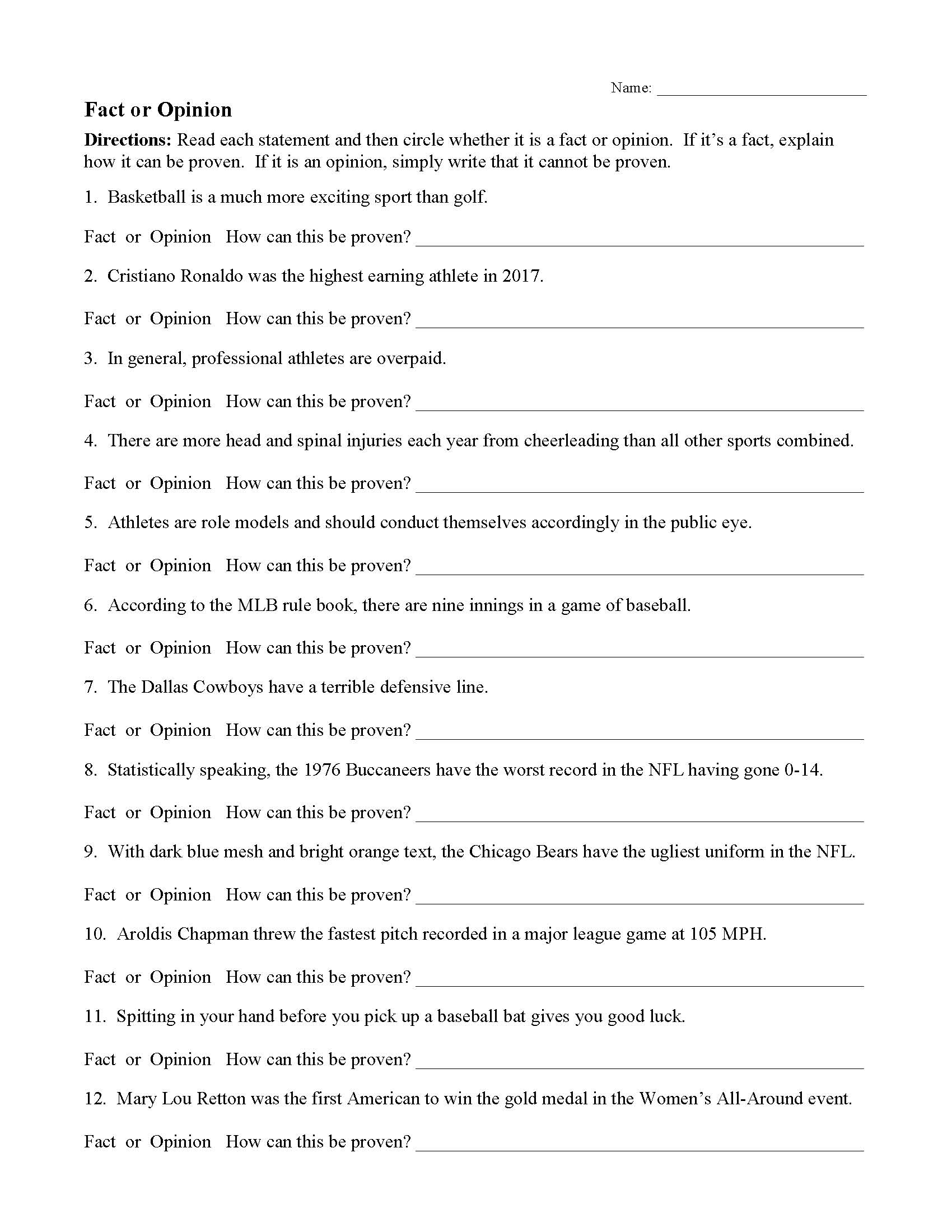 Fact And Opinion Worksheets | Ereading Worksheets