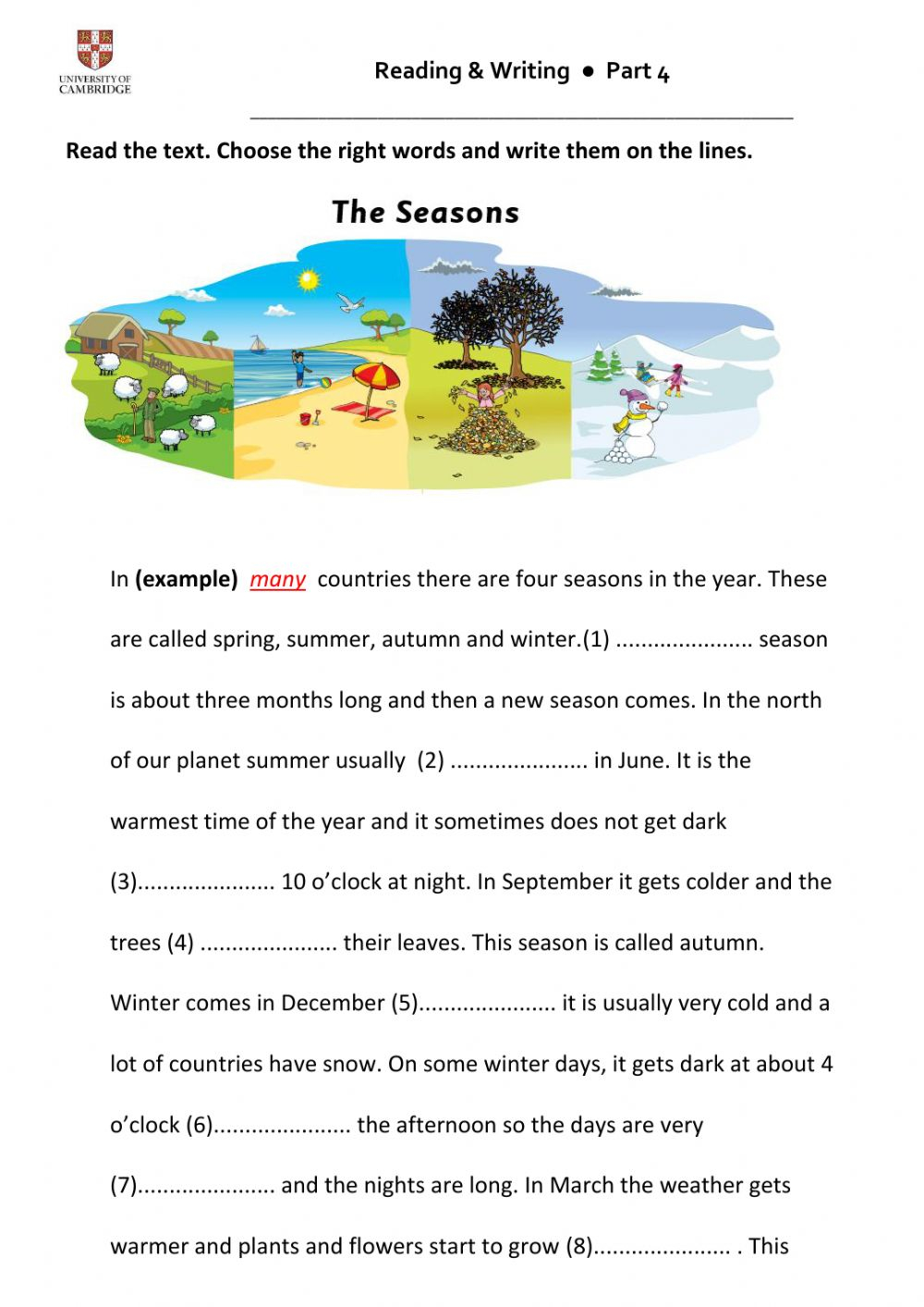 Flyers Reading And Writing Part 4 Worksheet