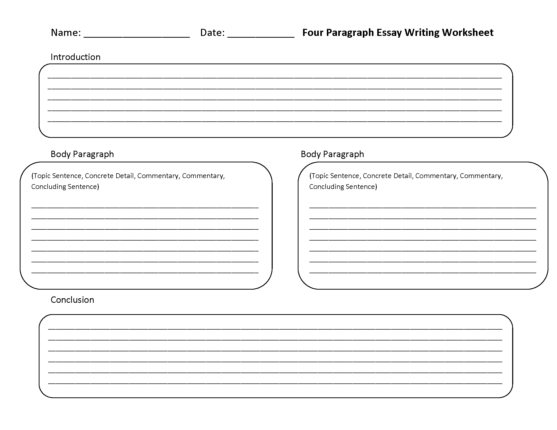Four Paragraph Essay Writing Worksheets | Writing Worksheets