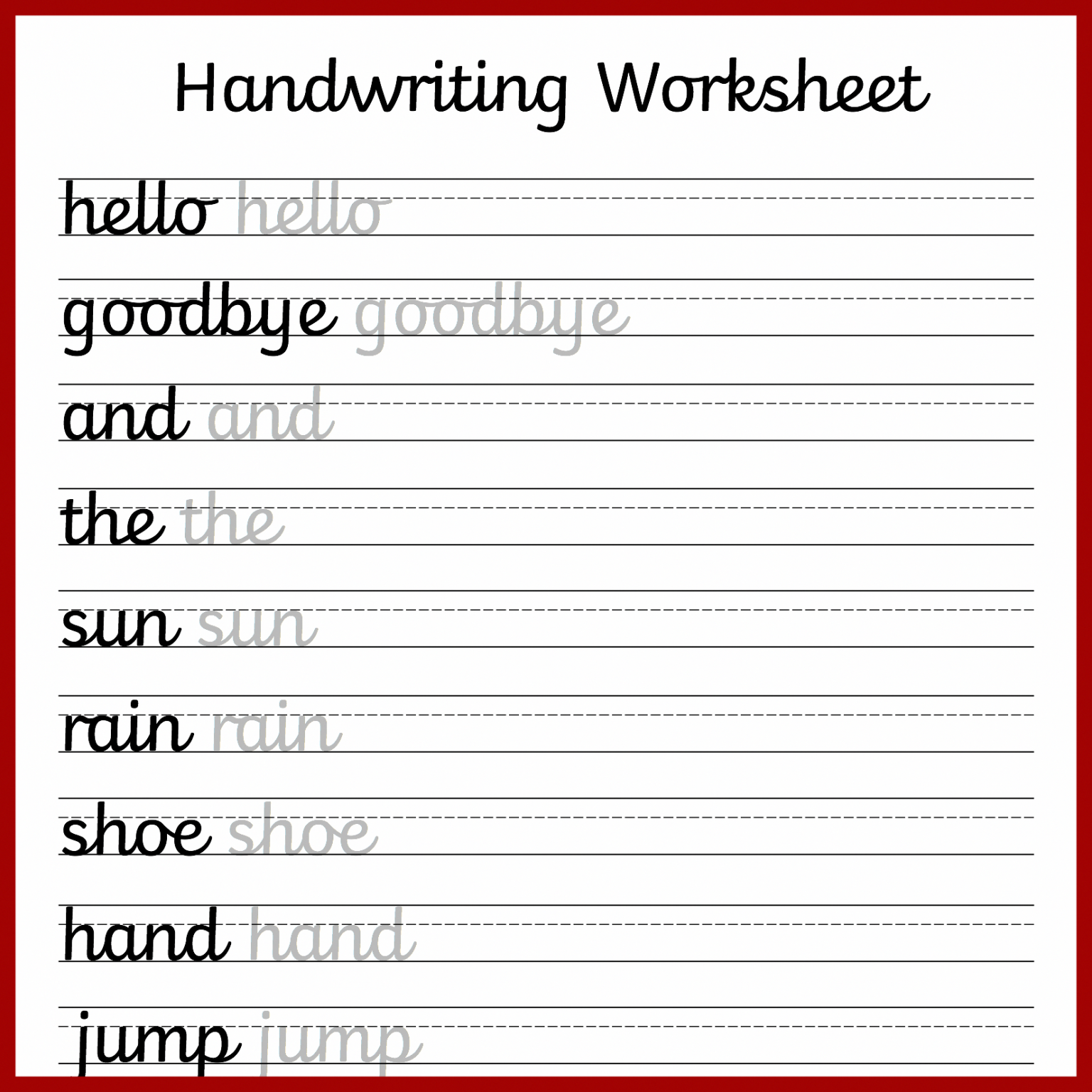 Free Cursive Writing Practice Sheets For Kids Coloring Book
