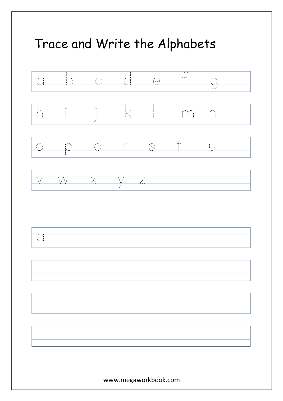 Free English Worksheets - Alphabet Writing (Small Letters