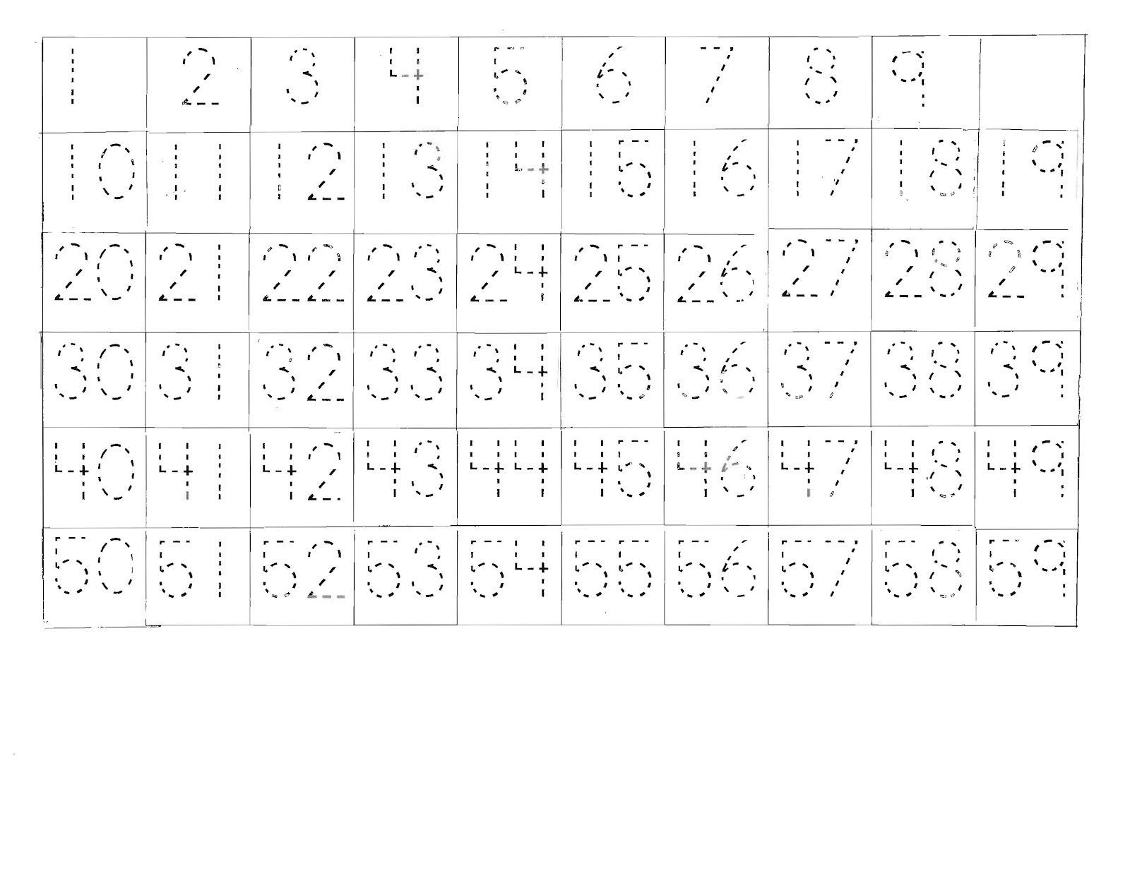 Free English Worksheets Tracing Numbers 30-40 Writing