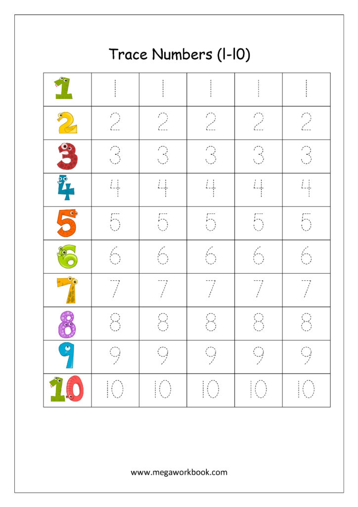 Free Math Worksheets   Number Tracing And Writing (1 10
