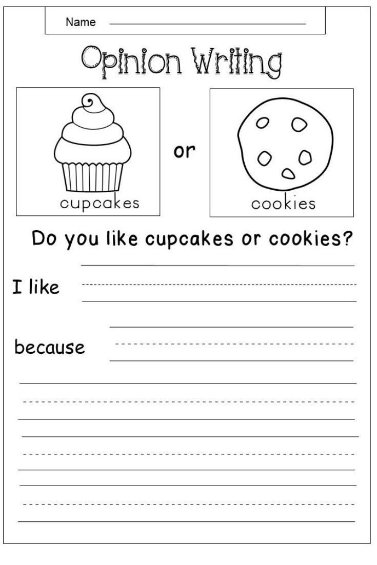 Free Opinion Writing Worksheets