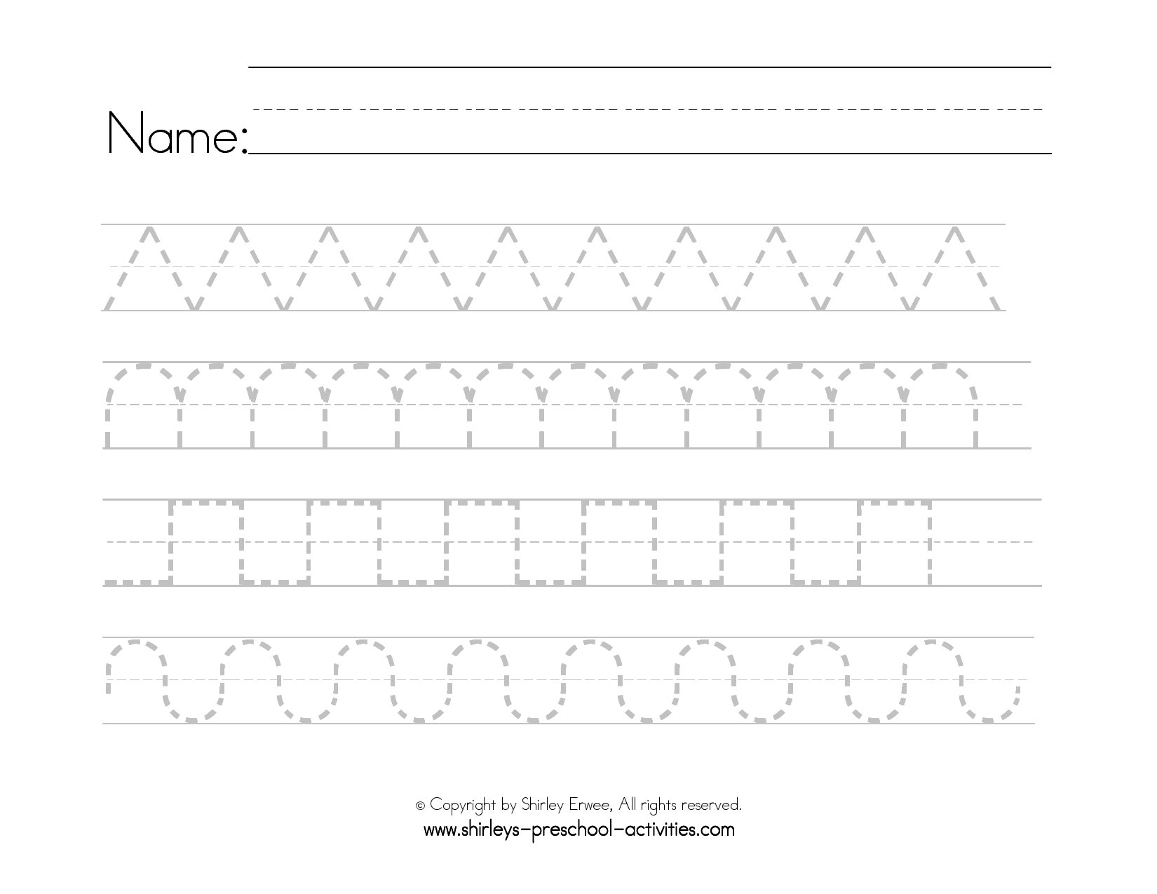 Pattern Writing Worksheets For Toddlers