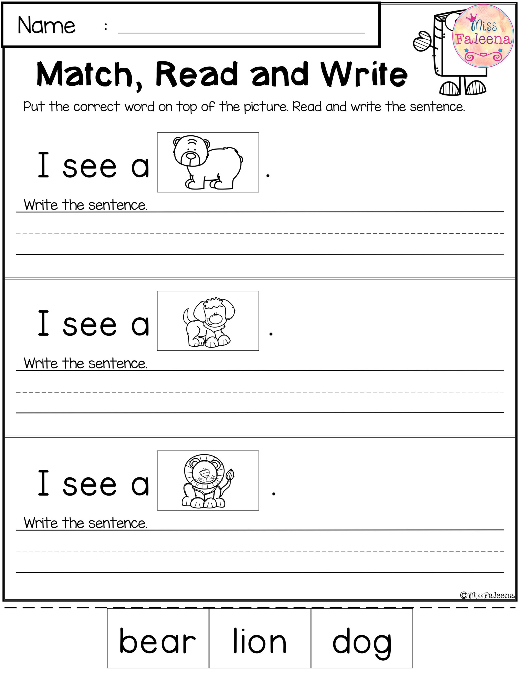 Free Reading And Writing Practice | Kindergarten Writing