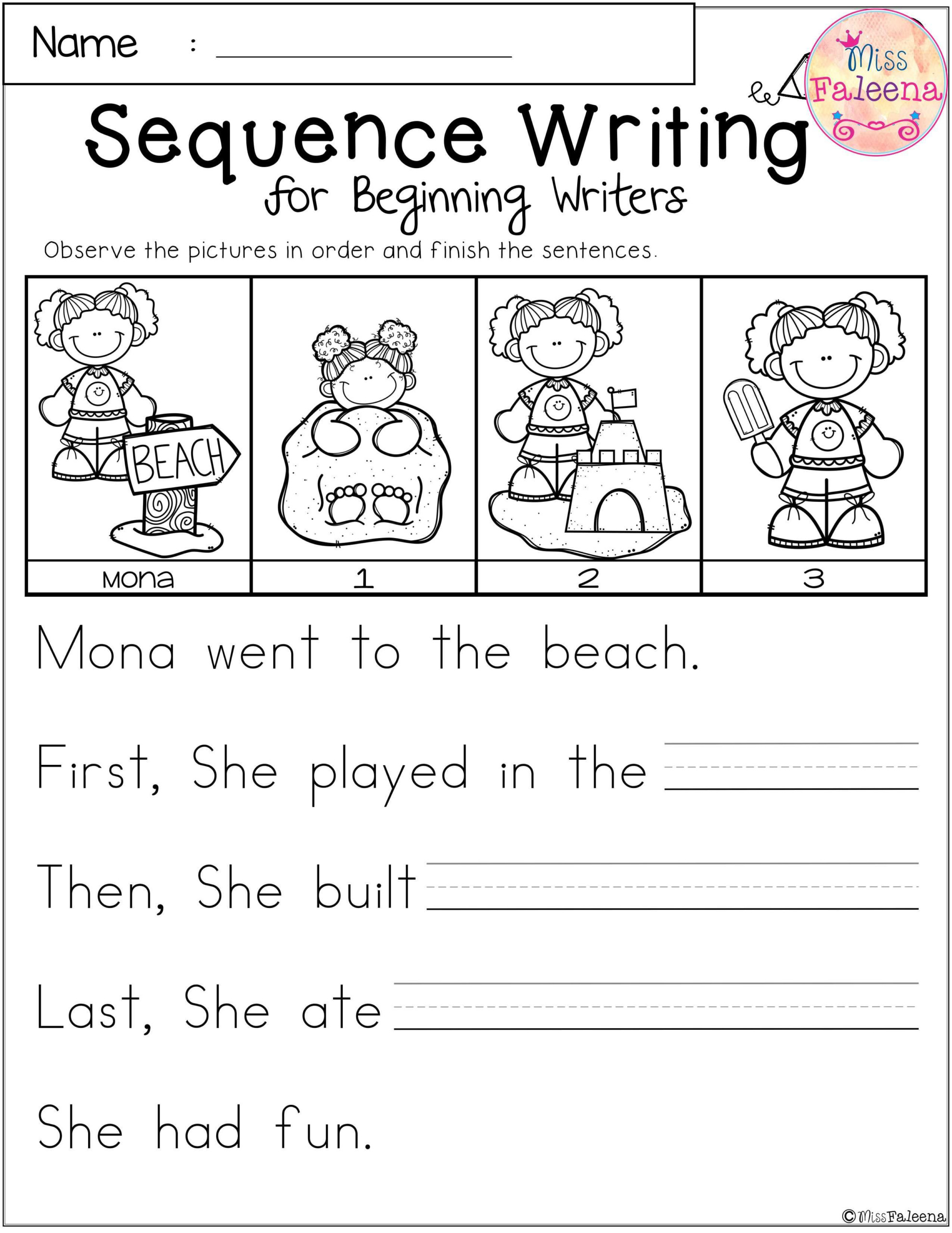 Free Sequence Writing For Beginning Writers   Sequence