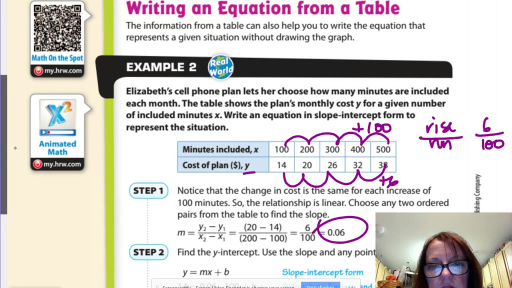 Gm8 5.2 Writing Linear Equations From A Table