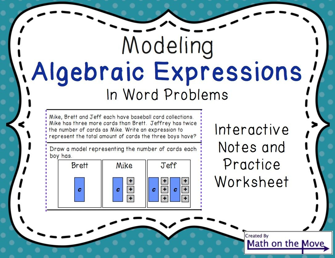 Modeling And Writing Expressions Worksheet