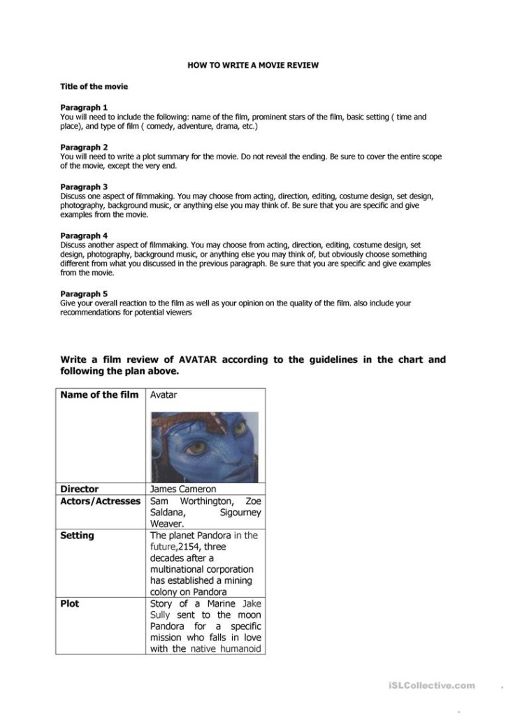 Guidelines To Write A Movie Review   English Esl Worksheets