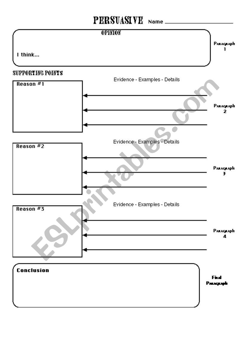 How To Write A Persuasive Text - Planning Sheet - Esl