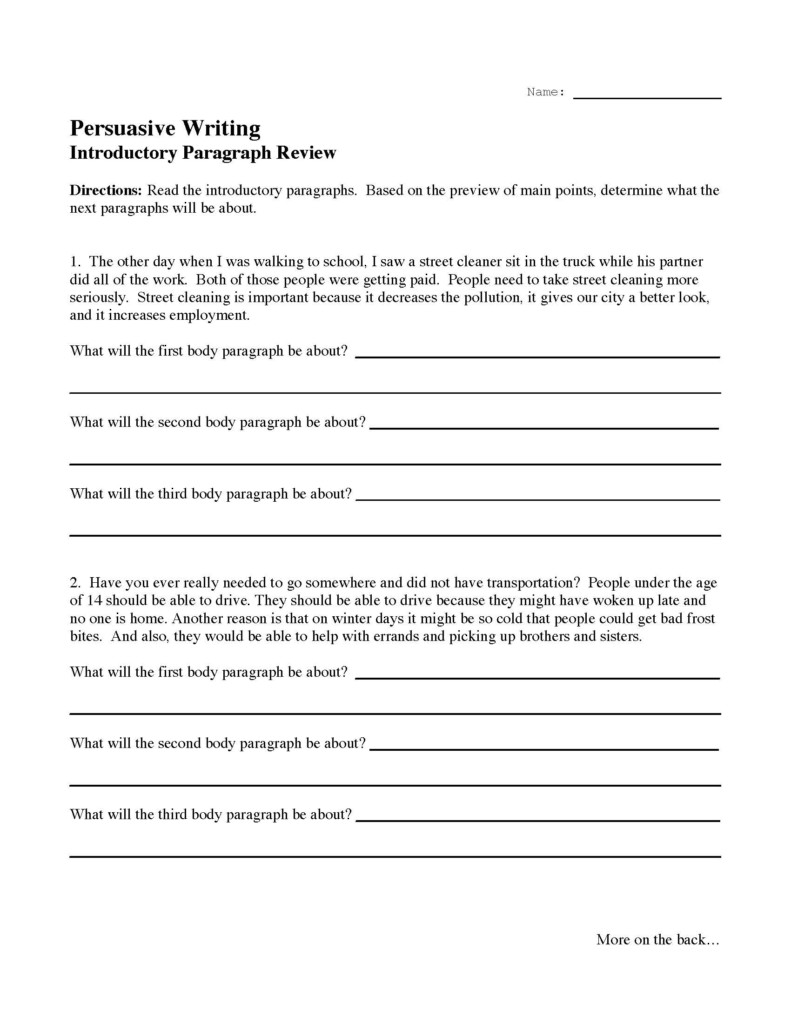 Introductory Paragraph Review Activity | Preview