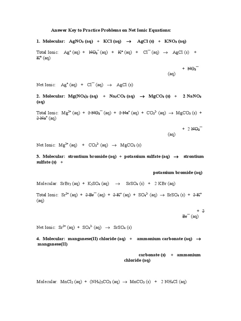 Ionic And Net Ionic Equations Worksheet With Answers | Kids