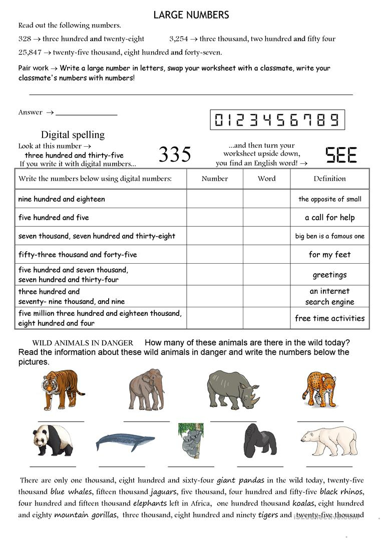 Large Numbers - English Esl Worksheets For Distance Learning